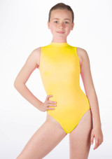 Alegra Girls Shiny Verity Leotard Yellow front #2. [Yellow]