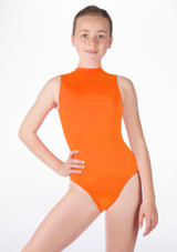 Alegra Girls Shiny Verity Leotard Orange front. [Orange]