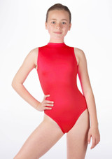 Alegra Girls Shiny Verity Leotard Red front #2. [Red]
