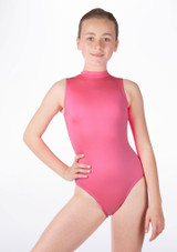 Alegra Girls Shiny Verity Leotard Pink front #3. [Pink]