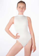 Alegra Girls Shiny Verity Leotard White front. [White]