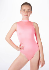 Alegra Girls Shiny Verity Leotard Pink front #4. [Pink]