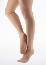 Capezio Girls Footed Dance Tights Light Suntan Brown front. [Brown]