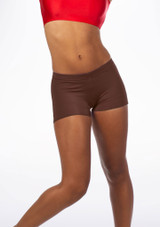 Alegra Girls Shiny Hotpants Brown front. [Brown]