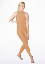 Alegra Girls Shiny Rhona Unitard Tan front. [Tan]