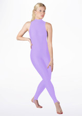 Alegra Girls Shiny Rhona Unitard Purple front. [Purple]
