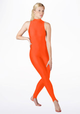 Alegra Girls Shiny Rhona Unitard Orange front. [Orange]