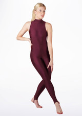 Alegra Girls Shiny Rhona Unitard Red front #2. [Red]