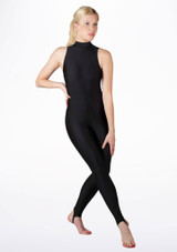 Alegra Girls Shiny Rhona Unitard Black front. [Black]