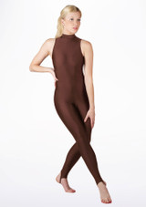 Alegra Girls Shiny Rhona Unitard Brown front. [Brown]