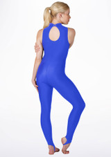 Alegra Girls Shiny Rhona Unitard Blue back. [Blue]