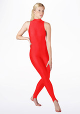 Alegra Girls Shiny Rhona Unitard Red front. [Red]