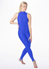 Alegra Girls Shiny Rhona Unitard Blue front. [Blue]