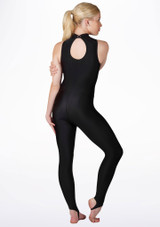 Alegra Girls Shiny Rhona Unitard Black back. [Black]