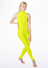 Alegra Girls Shiny Rhona Unitard Yellow front. [Yellow]