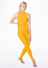 Alegra Girls Shiny Rhona Unitard Yellow front #2. [Yellow]