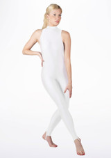 Alegra Girls Shiny Rhona Unitard White front. [White]