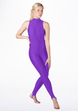 Alegra Girls Shiny Rhona Unitard Purple front #2. [Purple]