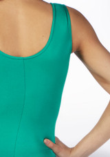 Alegra Girls Shiny Rhona Unitard Green colour swatch. [Green]