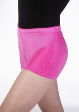 Tappers & Pointers Velvet Gymnastic Shorts Pink front #2. [Pink]