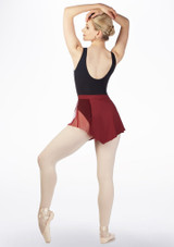 Capezio Asymmetrical Mesh Dance Skirt Red back. [Red]