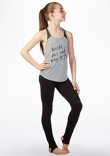 Bloch Girls Mesh Back Printed Dance Top Grey front. [Grey]