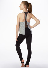 Bloch Girls Mesh Back Printed Dance Top Grey back. [Grey]