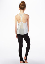 Bloch Girls Mesh Back Printed Dance Top White back. [White]