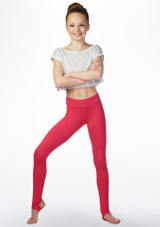 Bloch Teen High Waisted Stirrup Leggings Pink front. [Pink]