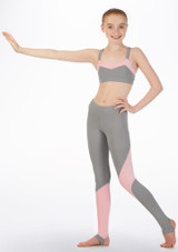 Bloch Teen Two Tone Crop Top* Grey front. [Grey]
