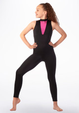 Alegra Fuse Girls Sleeveless Catsuit Black-Pink front. [Black-Pink]