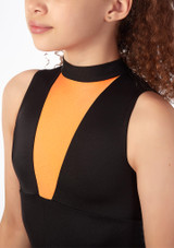 Alegra Fuse Girls Sleeveless Catsuit Orange front. [Orange]