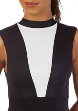 Alegra Fuse Girls Sleeveless Catsuit Black-White front. [Black-White]