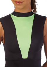 Alegra Fuse Girls Sleeveless Catsuit Black-Green front.