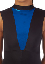 Alegra Fuse Girls Sleeveless Catsuit Black-Blue front. [Black-Navy Blue]