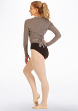 Capezio Soft Knitted Ballet Wrap Grey back. [Grey]