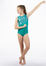 Alegra Rave Sleeveless  Gymnastics Leotard Green front. [Green]