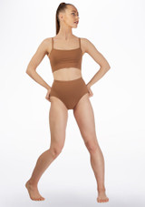 Bloch High Waist Dance Brief* Brown front. [Brown]