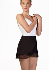 Mirella Juliet Lace Wrap Skirt* Black front. [Black]