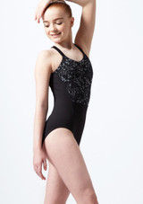 Bloch Teen Floral Loop Back Leotard* Black front. [Black]