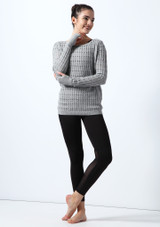 Bloch Textured Knit Long Sleeve Sweater* Grey front. [Grey]