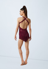 Weissman Plunge Dress With Fringe Red back. [Red]