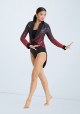 Weissman Ombre Sequin Tailcoat Set Black-Red front. [Black-Red]