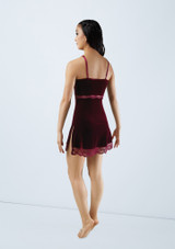 Weissman Velvet Slip Dress With Lace Red back. [Red]