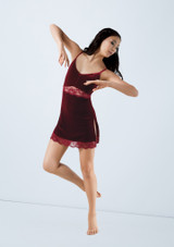 Weissman Velvet Slip Dress With Lace Red front. [Red]