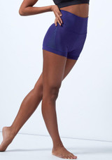 Capezio High Waisted Shorts Blue front. [Blue]