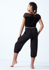 Bloch Teen Perforated Cropped Pants Black back. [Black]