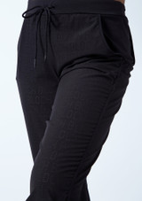 Bloch Teen Perforated Cropped Pants Black front #2. [Black]