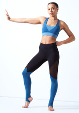 Bloch Cross Back Crop Top Blue front. [Blue]