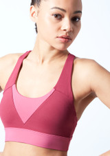 Bloch Cross Back Crop Top Pink front #2. [Pink]